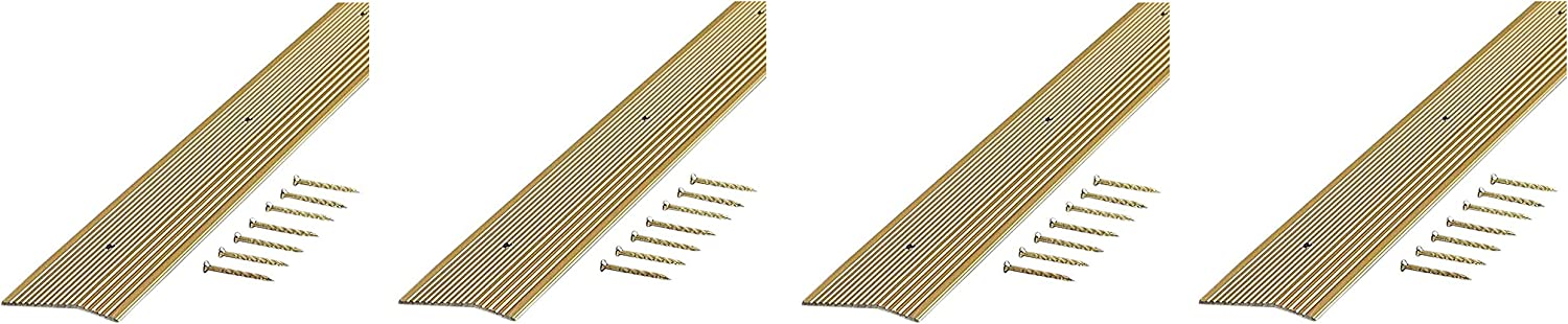 Fоur Расk M-D Building Products 79244 Extra Wide Fluted 2-Inch by 36-Inch Carpet Trim Satin Brass