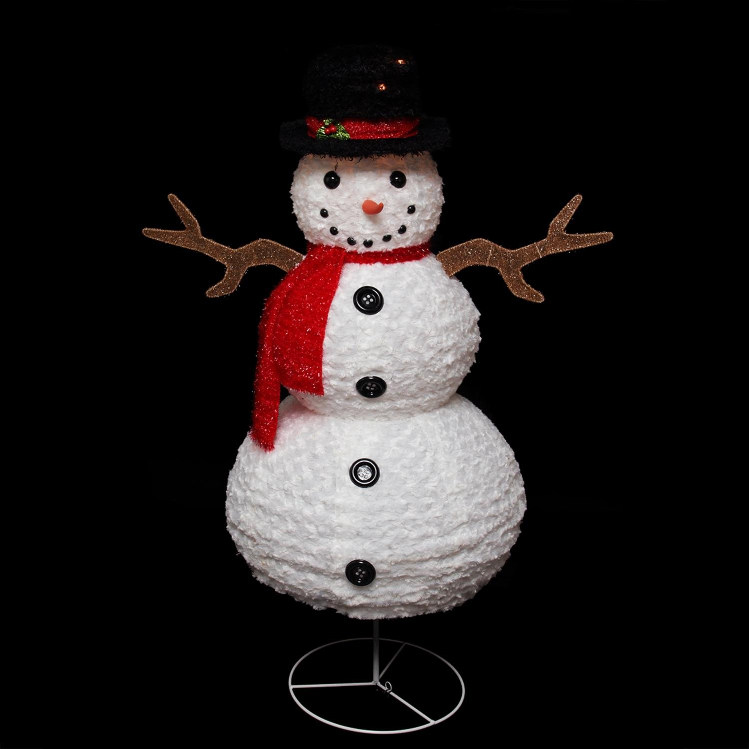 Northlight Seasonal Pre-Lit Outdoor Chenille Swirl Snowman w/Top Hat Christmas Yard Art Decoration