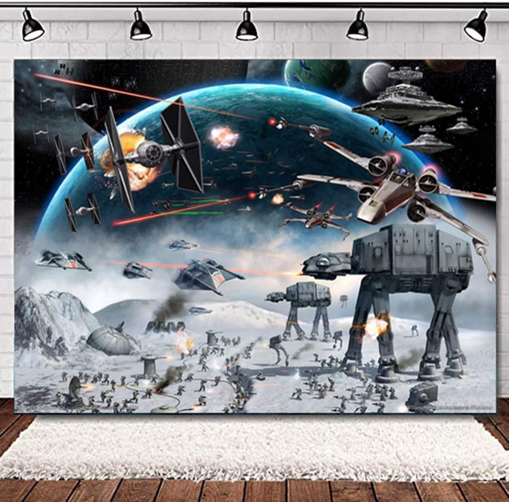 Universal Outer Space Galaxy Wars Photo Backdrops 5x3ft Baby Boys Bday Party Supplies Black Stars Science Fiction Photography Backdrop Baby Shower Kids Birthday Decorations Banner