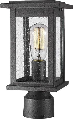 Emliviar Outdoor Post Light Fixtures, 1-Light Pillar Light in Black Finish with Seeded Glass, 1803EW1-P