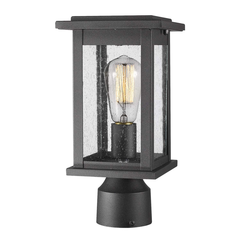 Emliviar Outdoor Post Light Fixtures, 1-Light Pillar Light in Black Finish with Seeded Glass, 1803EW1-P by EMLIVIAR