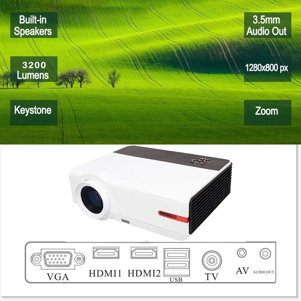 KAIDILA LCD HD Video Proyector 3200 lúmenes LED Multimedia ...