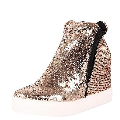 CAPE ROBBIN Women Sequin High Top Hidden Wedge Fashion Sneaker Rose Gold  (Size  8.5