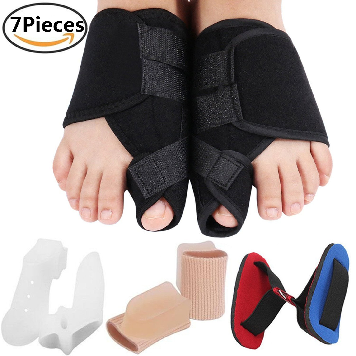 Bunion Corrector Bunion Relief Kit, Bunion Splint Toe Straightener Corrector for Hallux Valgus, Big Toe Joint, Hammer Toes, Splint Aid Surgery Treatment for Women and Men (Black Splints)