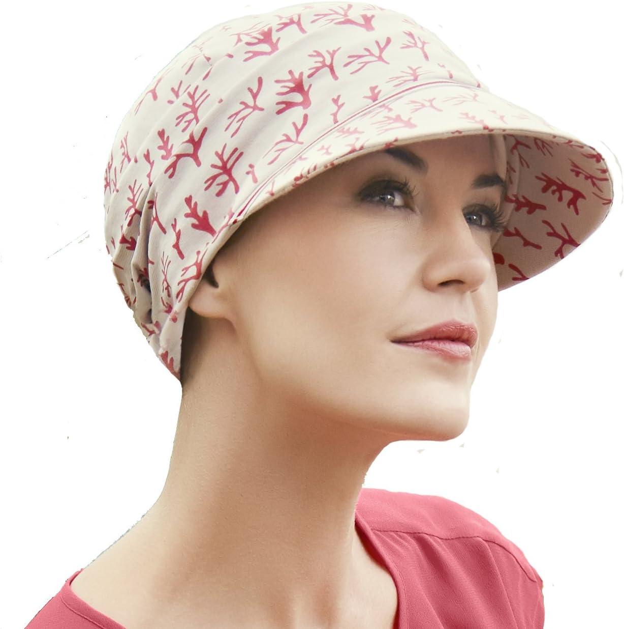 Christine Headwear Gorra oncológica drapeada de algodón con Visera ...