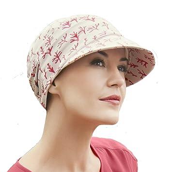 Gorra oncológica drapeada de algodón con visera y protección solar índice 50+ color beige estampado