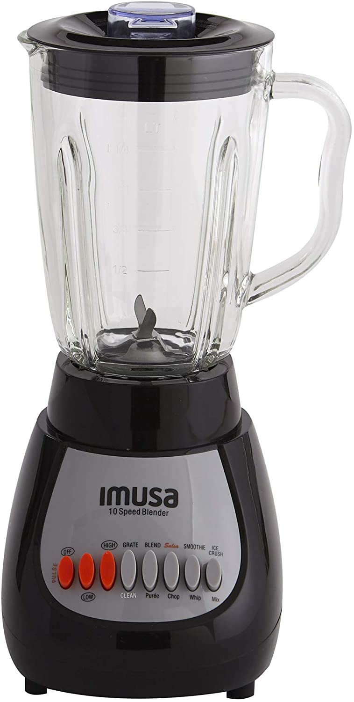 IMUSA USA GAU-80313B Black 10-Speed Blender with Glass Jar 4, 42 oz