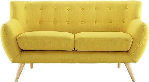 Amazon.com: Modern Contemporary Loveseat, Yellow Fabric ...