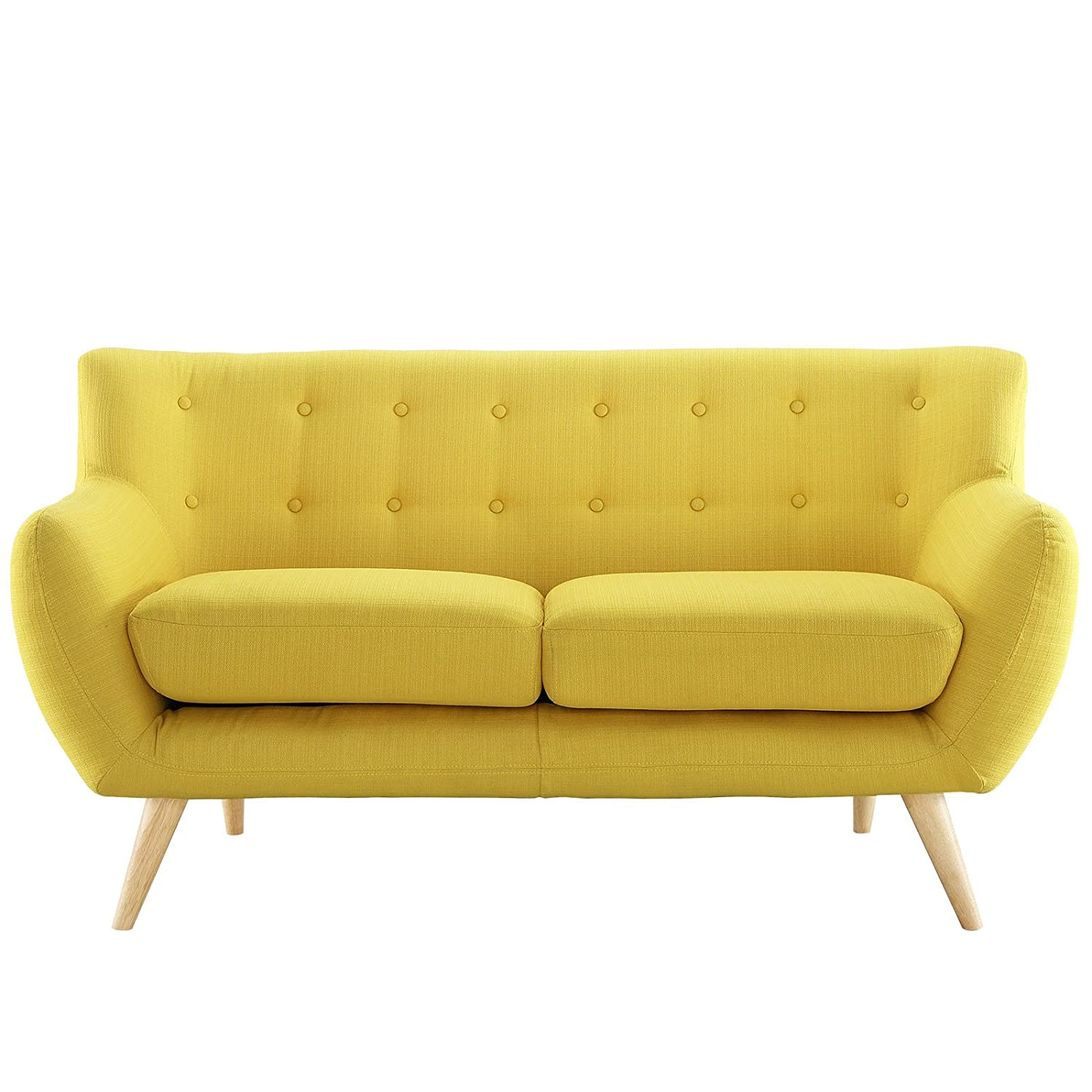 amazoncom modway remark mid century modern loveseat with upholstered fabric in sunny kitchen dining - Yellow Couch