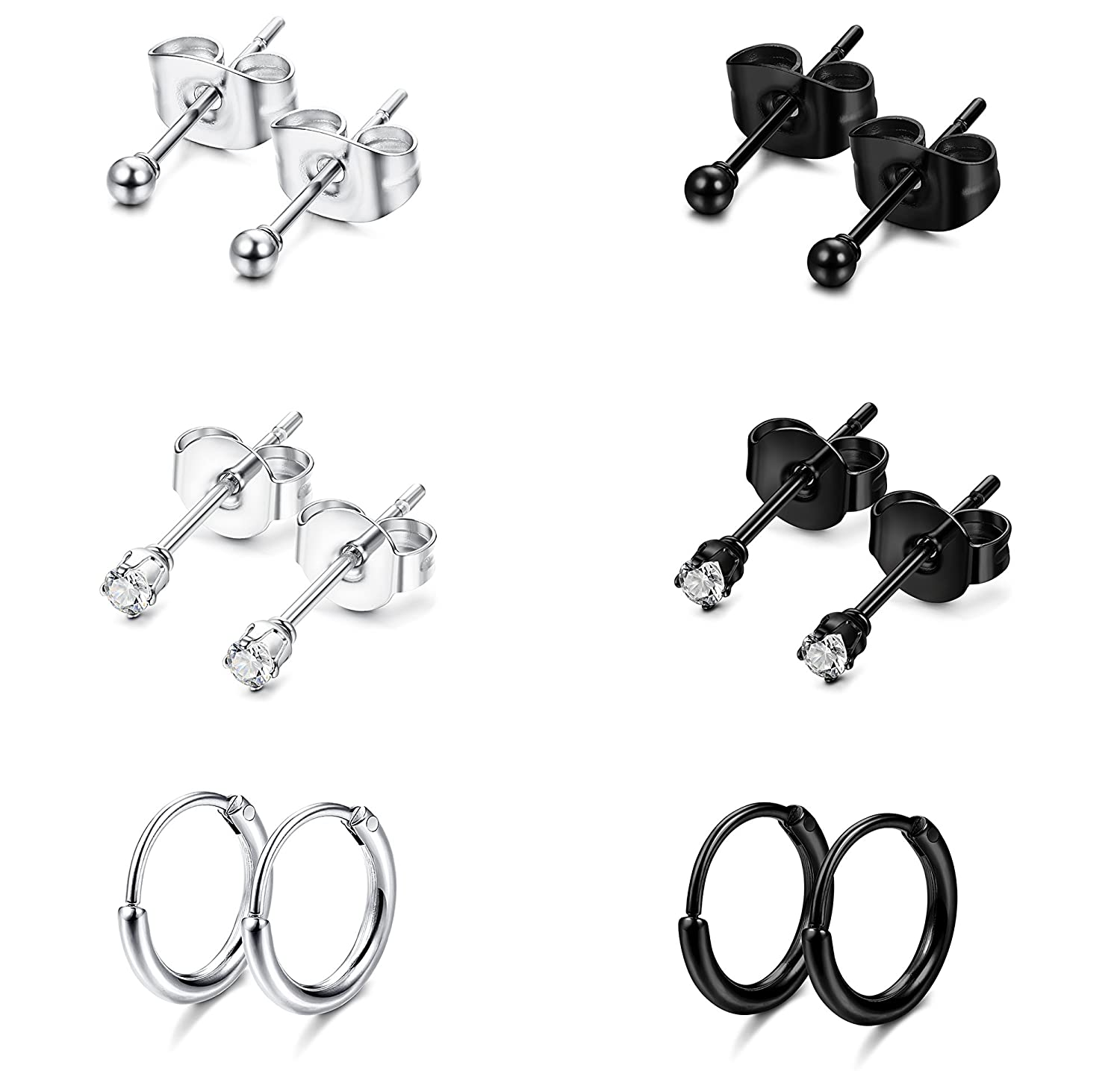 Jstyle Stainless Steel 2mm Tiny Stud Earrings for Women Mens Endless Hoops CZ Balls Cartilage Earrings Set 20G WE17177-SB