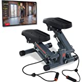 Women's Health Men's Health Bluetooth Cardio Stair Stepper with Adjustable Resistance Bands and with MyCloudFitness App…