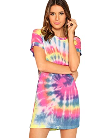 2464529e1b Romwe Women s Short Sleeve Summer Casual Tie Dye T-Shirt Dress Multicolor-1  X