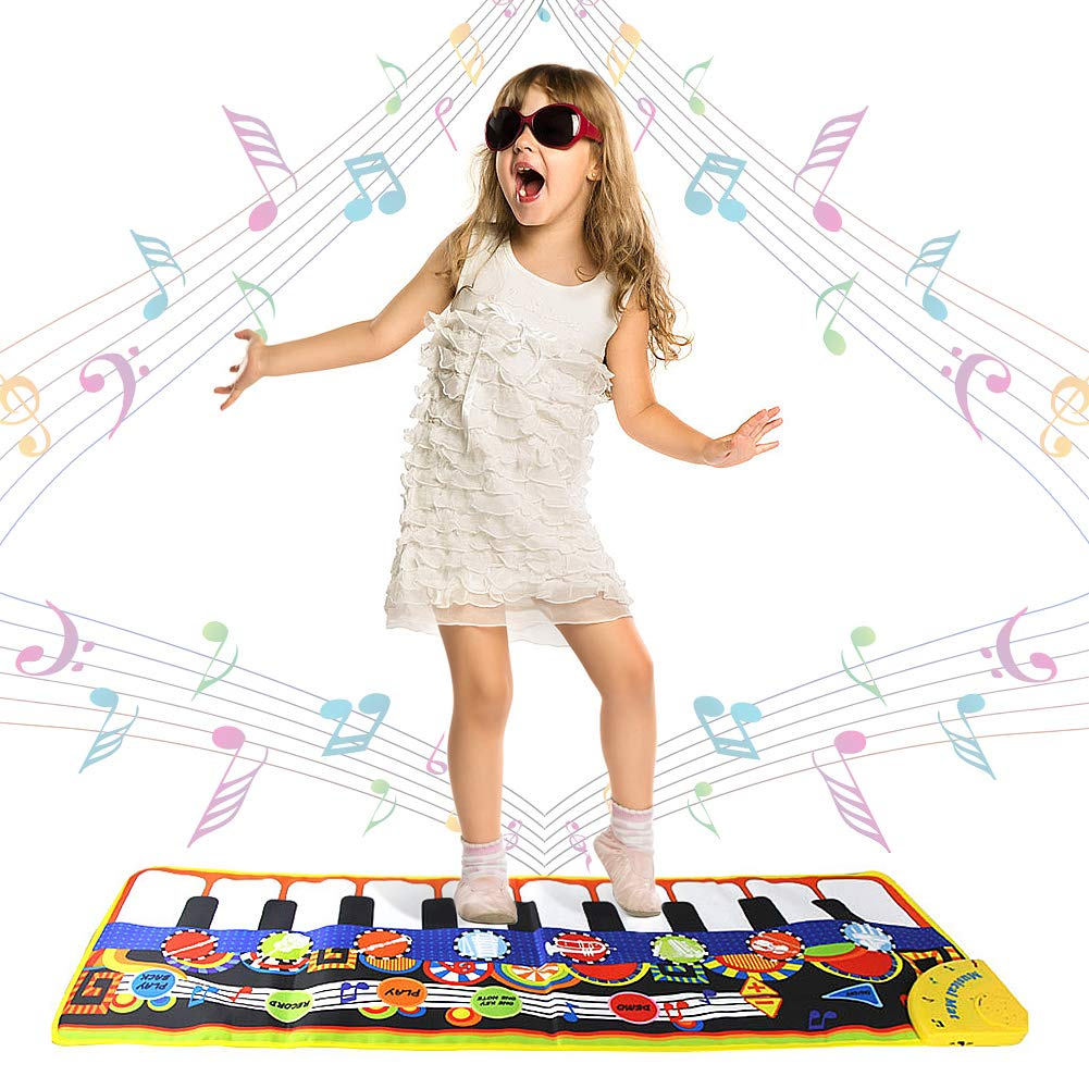 SuperWiner Musical Piano Mat,Kids Early Education Music Blanket,8 Musical Instruments,Demo Songs,19 Keys,Build-in Speaker and Recording Function Electronic Dance Mats(Black and White) by SuperWiner (Image #6)