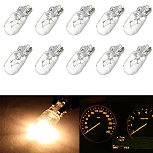 cciyu T10 168 194 W5W Halogen Light Bulb Instrument Cluster Gauge Dash Lamp (10pack white)