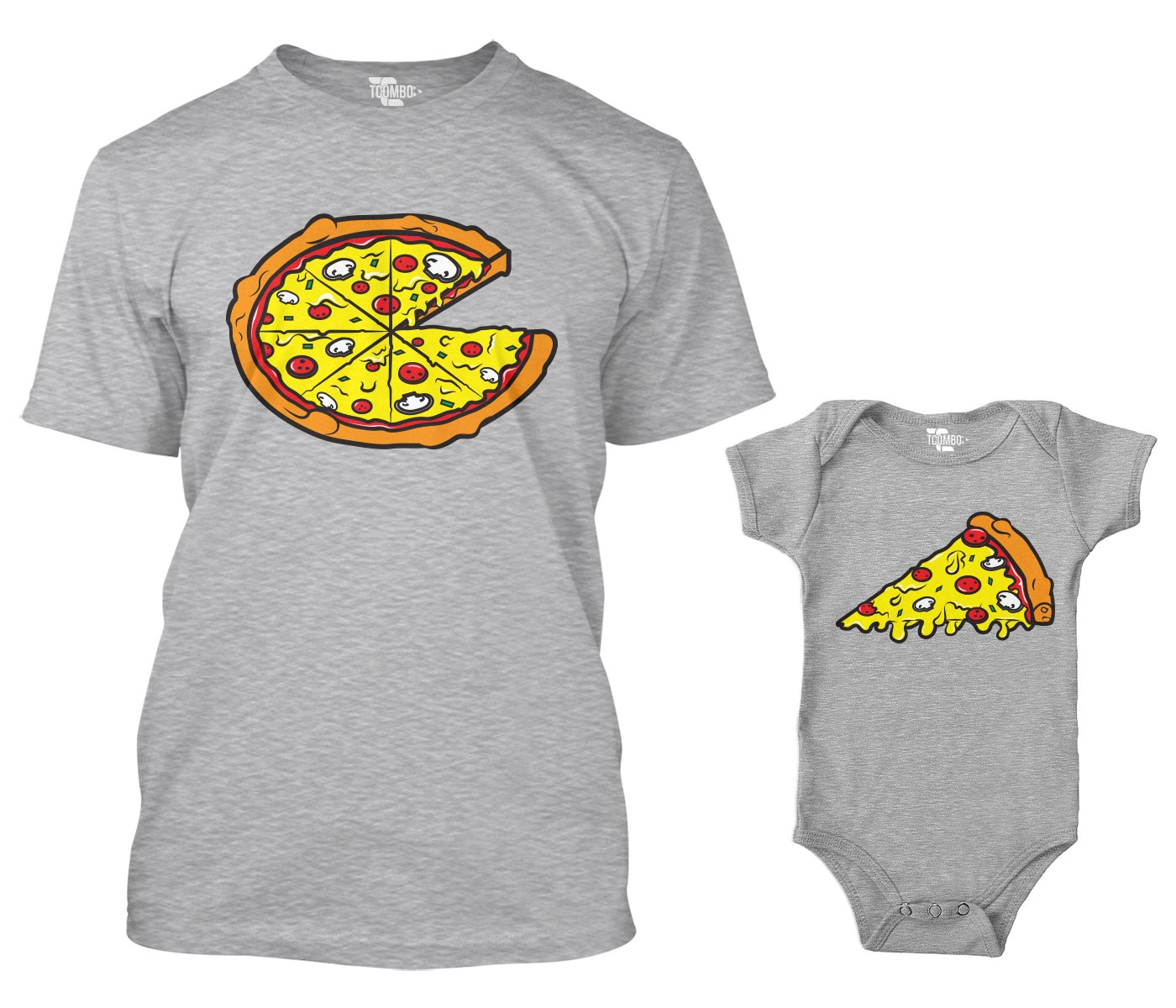 Pizza Pie/Slice Matching Bodysuit & Men's T-Shirt (Light Gray/Light Gray, Large/6 Months) by Tcombo