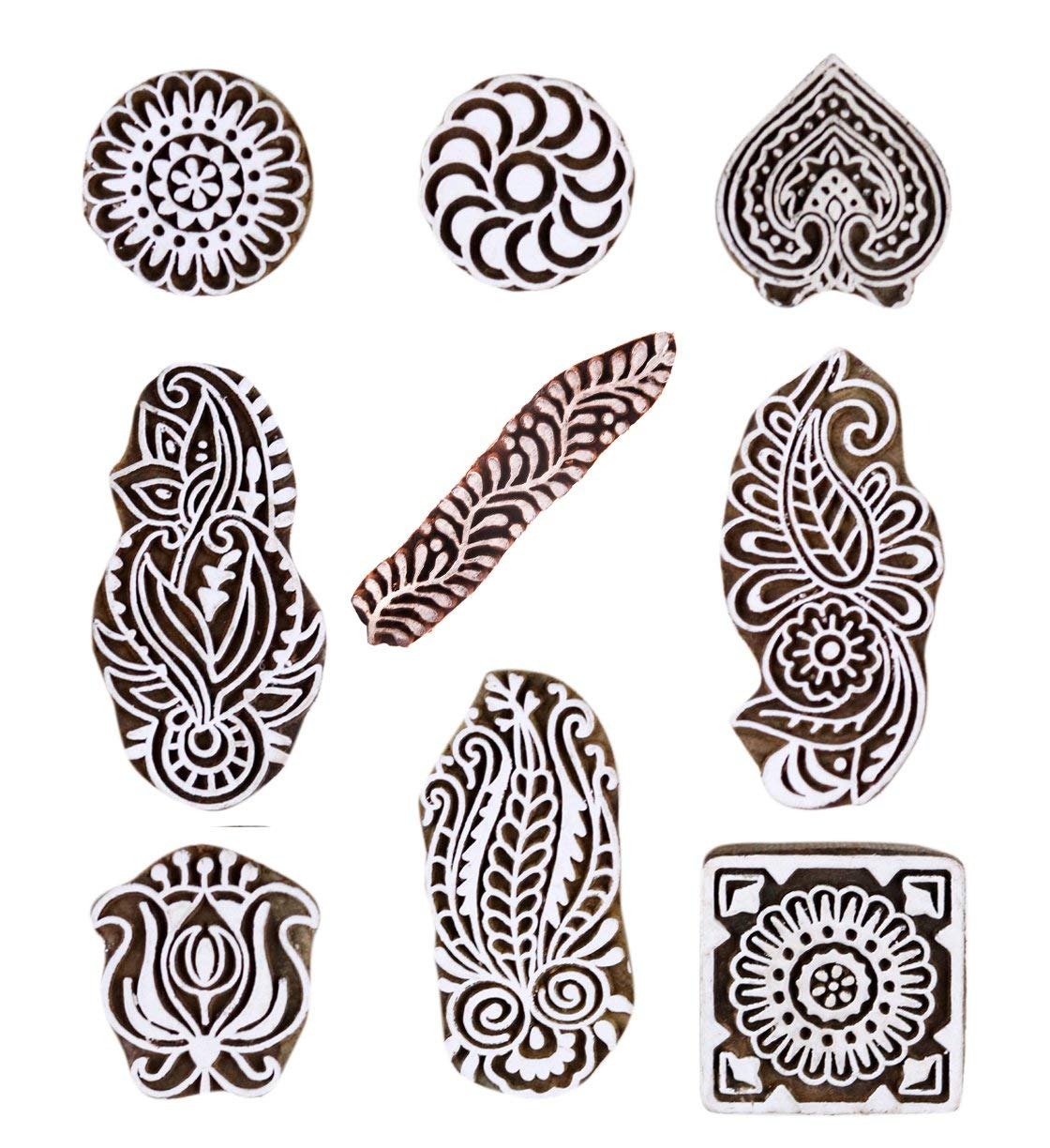 PARIJAT HANDICRAFT Printing Stamps Mughal Design Wooden Blocks (Set of 9) Hand-Carved for Saree Border Making Pottery Crafts Textile Printing