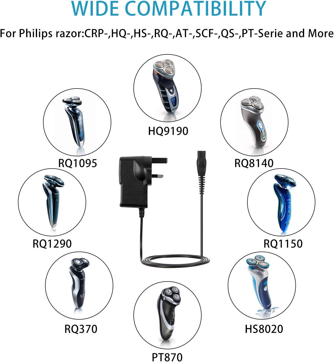 15 V Adaptador de Repuesto de Cargador de Afeitadora Compatible con Afeitadora Philips Norelco HQ8505 Cable de Carga ...