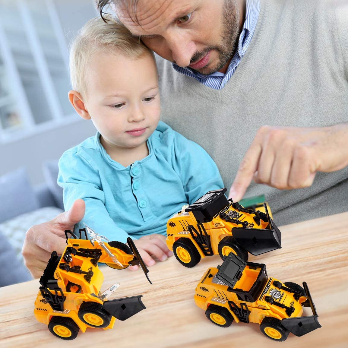 Highttoy Transformer Car for Kids Construction Bulldozer Transformer Toy with Weapons Kids Pull Back Transforming Robot Car Birthday Gifts for Boys Age 3-8 Construction Transformers Toys for Kids