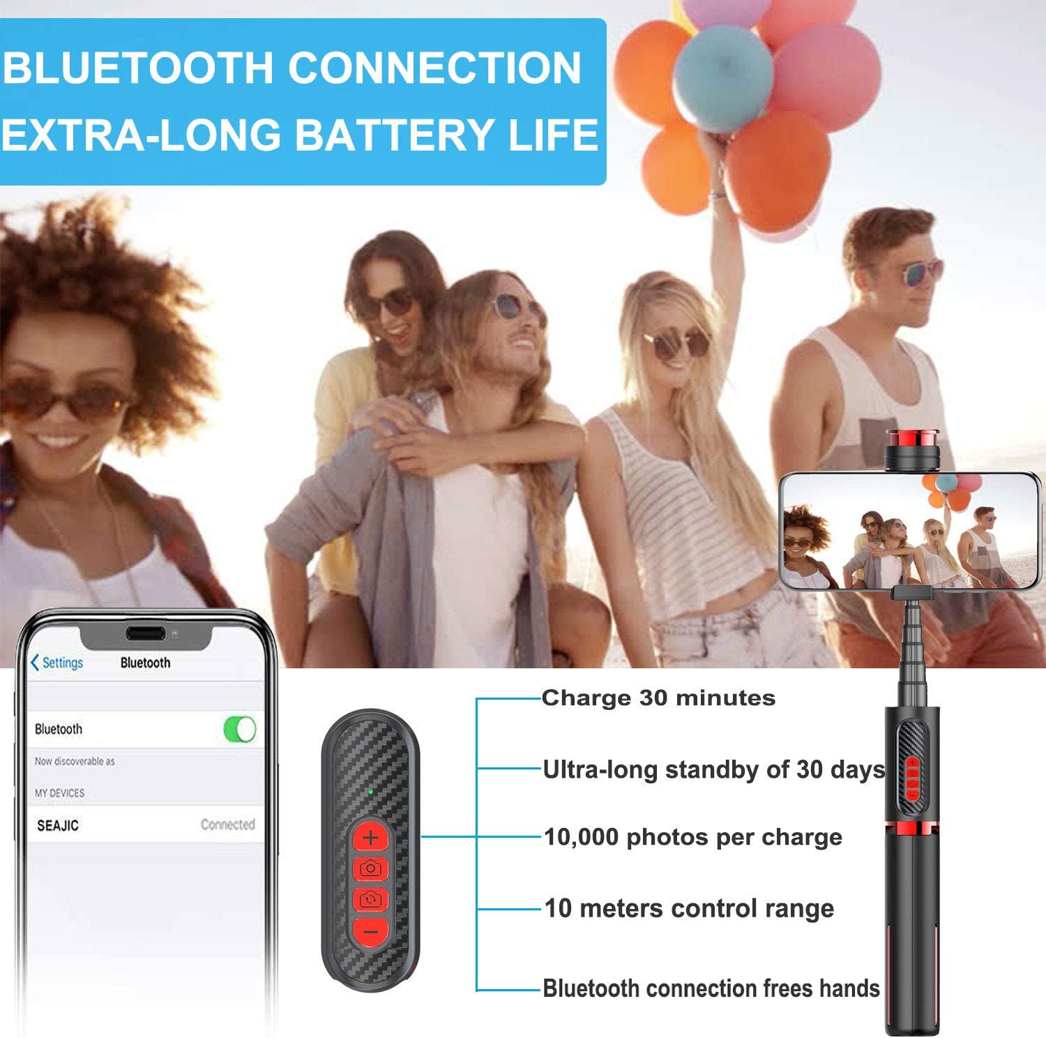 All in 1 Extendable Selfie Stick Tripod with Movable Remote for Focusing and Changing the Lens Mini Selfie Stick for Iphone Babacom Selfie Stick Bluetooth Samsung,Huawei and More