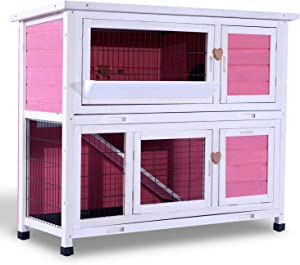 Lovupet 2 Story Outdoor Wooden Rabbit Hutch Chicken Coop Bunny Cage Guinea Pig House with Ladder for Small Animals (Pink)
