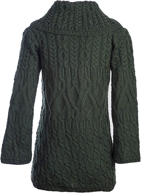 100% Merinowolle Aran Damen-Strickjacke aus Merinowolle mit DREI Mustern, in Weiß/Derby Braun/Armeegrün/Denim Braun Armeegrün