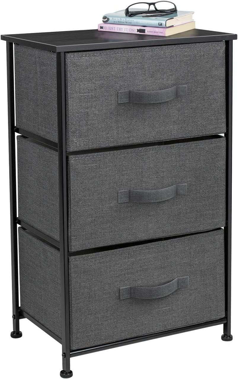 Sorbus Nightstand with 3 Drawers – Bedside Furniture Accent End Table Storage Tower for Home, Bedroom Accessories, Office, College Dorm, Steel Frame, Wood Top, Easy Pull Fabric Bins Black Charcoal