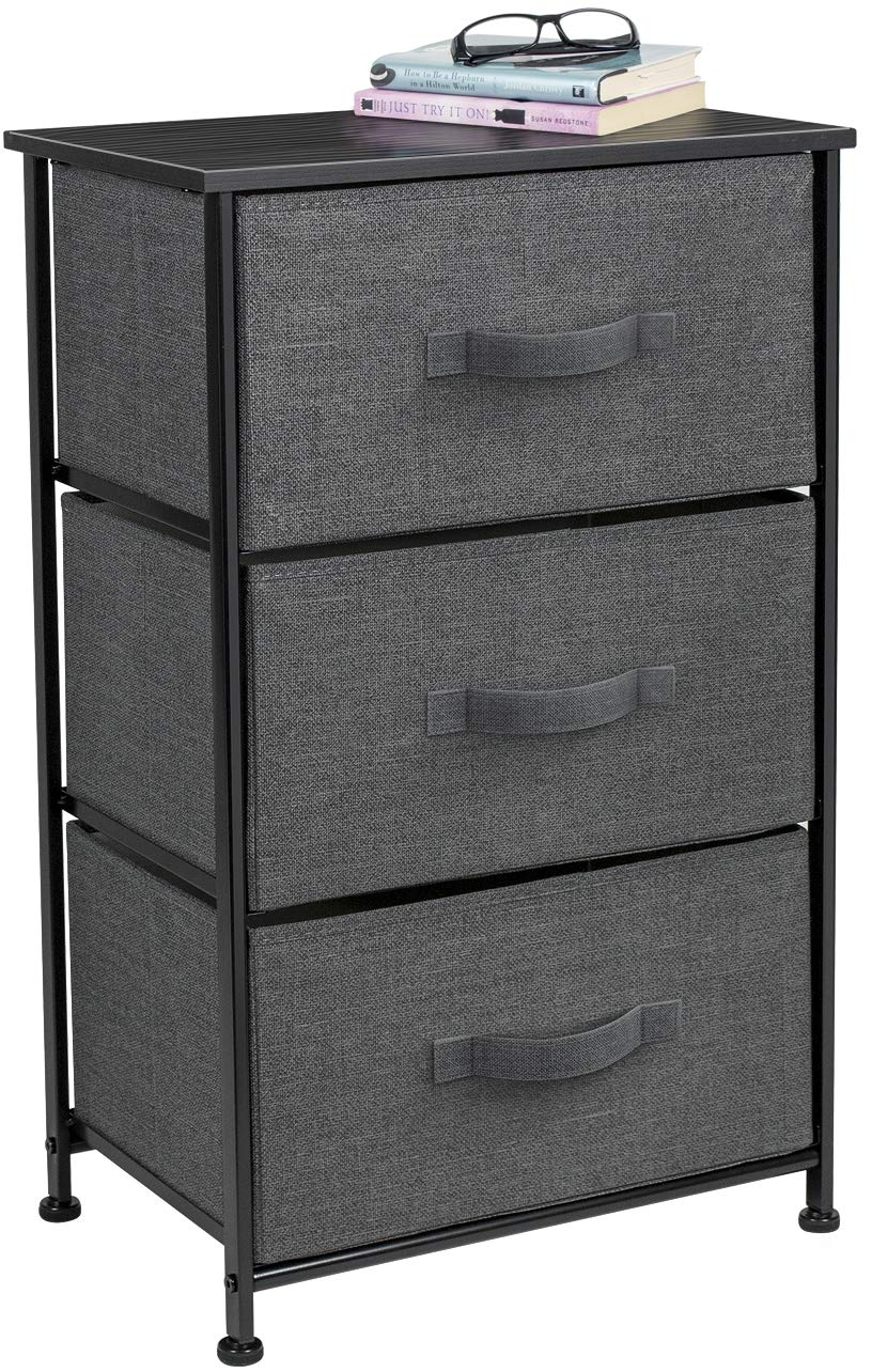 Sorbus Nightstand with 3 Drawers - Bedside Furniture & Accent End Table Storage Tower for Home, Bedroom Accessories, Office, College Dorm, Steel Frame, Wood Top, Easy Pull Fabric Bins (Black/Charcoal) by Sorbus