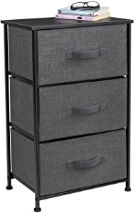 Sorbus Nightstand with 3 Drawers - Bedside Furniture & Accent End Table Storage Tower for Home, Bedroom Accessories, Office, College Dorm, Steel Frame, Wood Top, Easy Pull Fabric Bins (Black/Charcoal)
