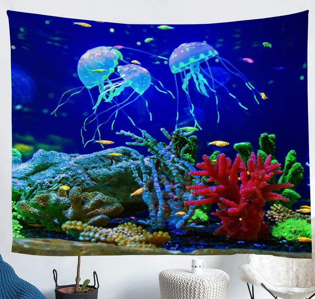 Blue Jellyfish Tapestry for Teens Girls,Sealife Underwater World Wall Hangings Art,Ocean Fish Tapestries,Under Sea Colorful Coral Reef Porch Hangings Nautical Sea Animal Bedroom Decor Medium 59x59