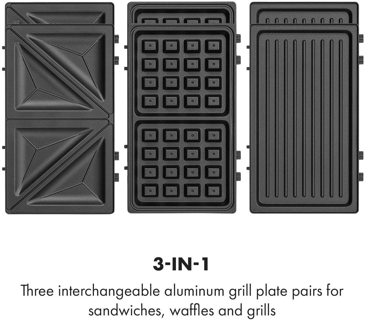 argent 750W 3 plaques de gril interchangeables en aluminium bo/îtier plastique antid/érapant rev/êtement antiadh/ésif Klarstein Trilit 3-en-1 Sandwich-Maker Panini-Maker gaufrier