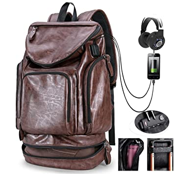 Men s Backpack with USB Leather Waterproof Large Capacity Backpack School  College Bookbag Laptop Computer Backpack with cc4bca7bc07e2