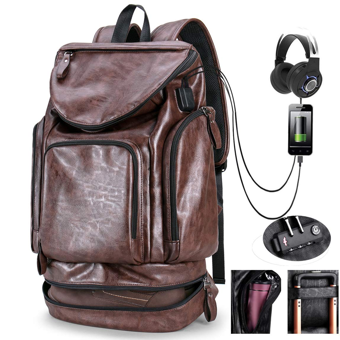 Men's Backpack with USB Leather Waterproof Large Capacity Backpack School College Bookbag Laptop Computer Backpack with Shoe Compartm Leather Travel Bag Extra Capacity Casual Vintage Daypacks (brown)