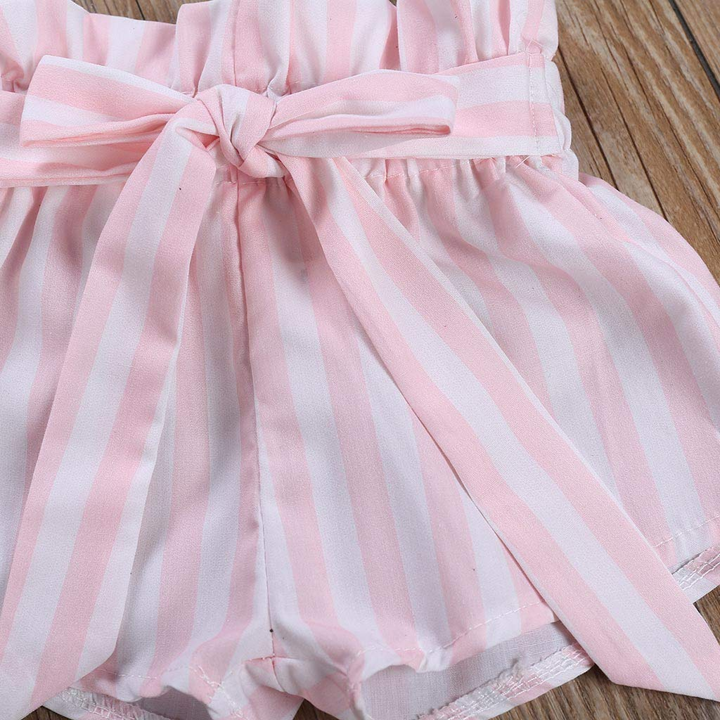 Stripe Shorts Pants Outfits Newborn Kids Baby Girls Clothes Floral Jumpsuit Romper Playsuit