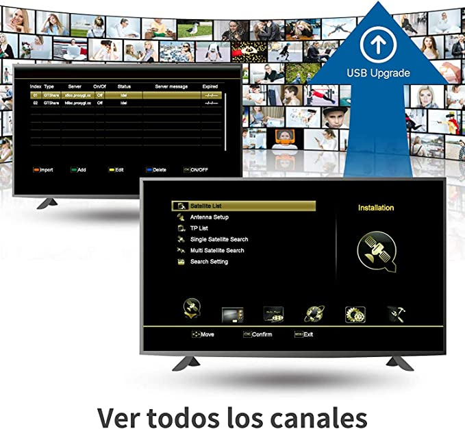 GT Media X8 DVB-S/S2/S2X Decodificador Satélite Receptor de TV Digital con Wi-Fi Incorporado / Ethernet / SCART / 1080P Full HD / Multi-Stream / T2-MI ...