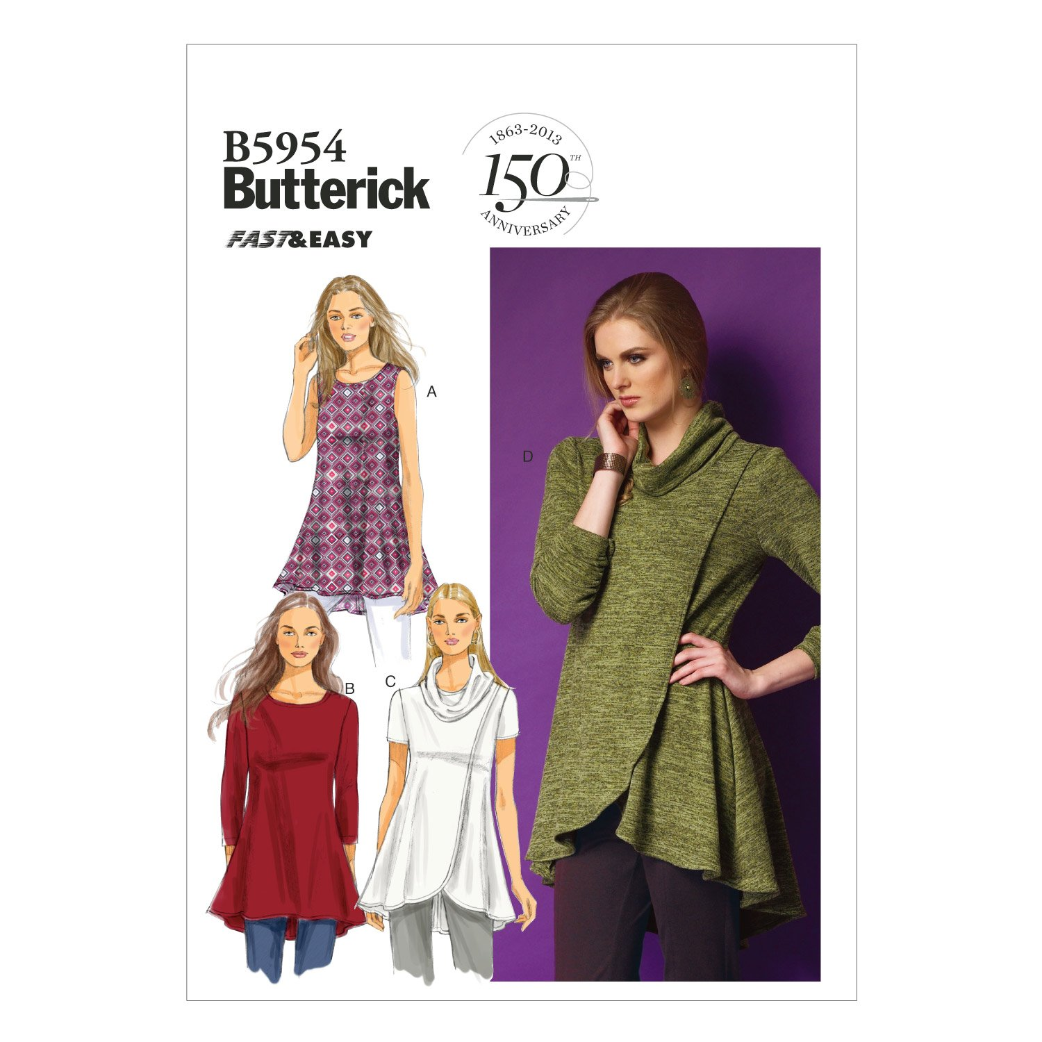 Butterick Patterns B5954 Y Misses Tunic, White McCall's Patterns B59540Y0