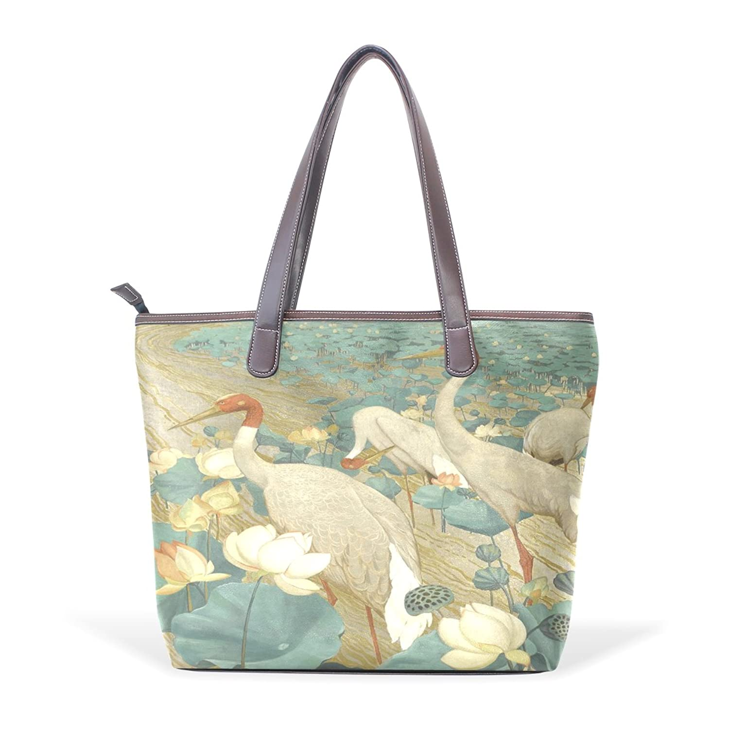 Womens Leather Tote Bag,Art Elegant White Bird,Large Handbag