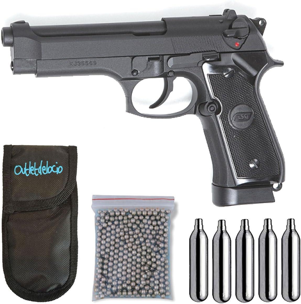 Outletdelocio. Pistola perdigon ASG18526 X9 Classic Blowback + Funda Portabombonas + Balines + Bombonas co2. 23054/29318/13275