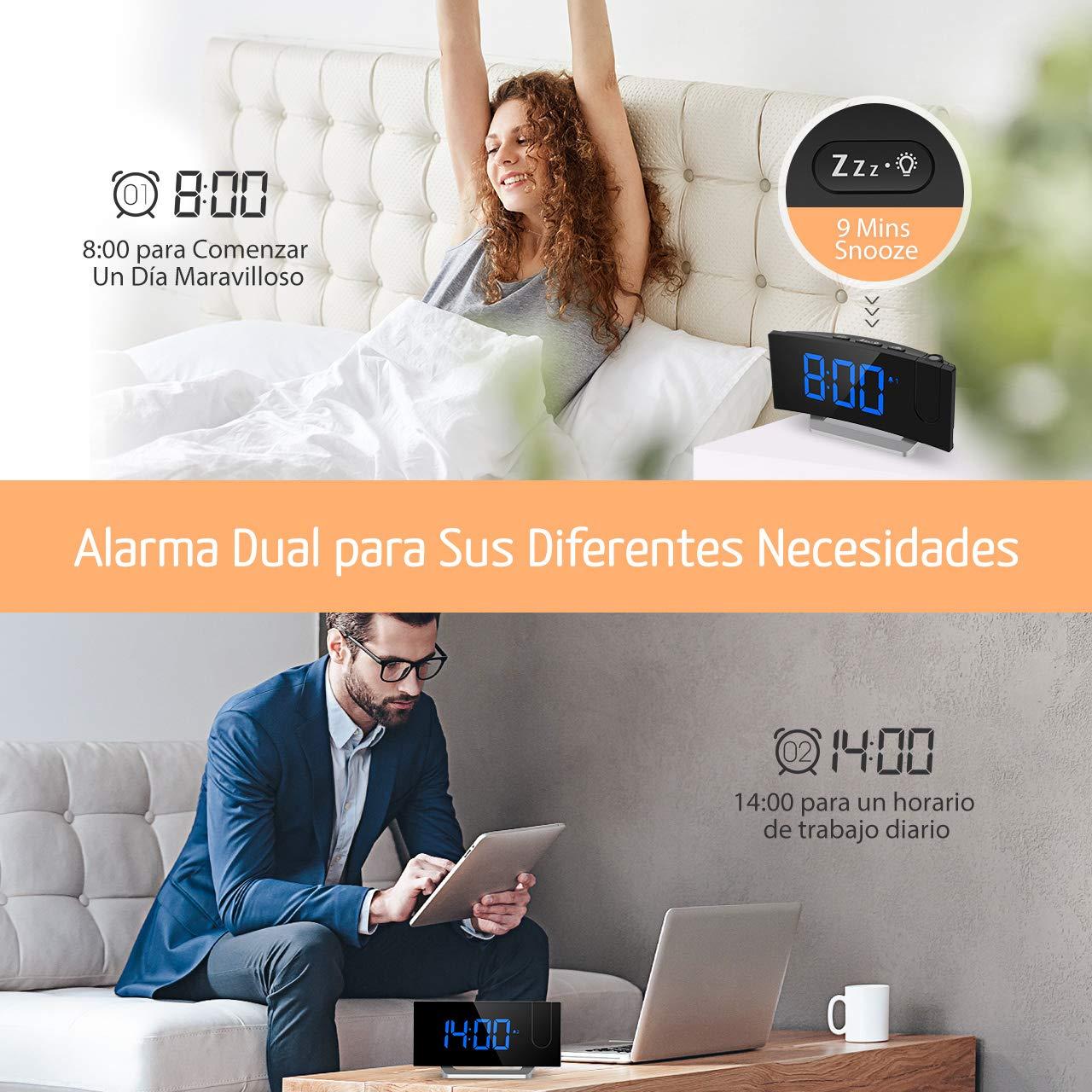 Mpow Radio Despertador Digital, Despertador Proyector, Reloj ...