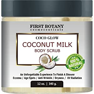 Natural Coconut Milk Body Polish 12 oz. With Dead Sea Salt and Vitamin E. Powerful Body Scrub Exfoliator and Daily Moisturizer For All Skin Types