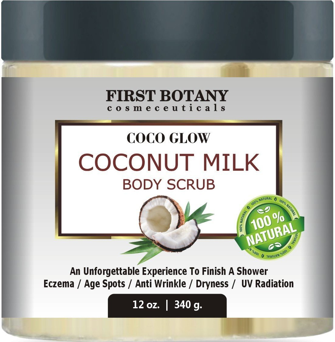 100% Natural Coconut Milk Body Polish 12 oz. With Dead Sea Salt and Vitamin E. Powerful Body Scrub Exfoliator and Daily Moisturizer For All Skin Types First Botany Cosmeceuticals