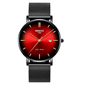 NIBOSI Mens Watch Ultra Thin Wrist Watches Fashion Waterproof Dress Stainless Steel Strap