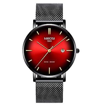 NIBOSI Mens Watch Ultra Thin Wrist Watches Fashion Waterproof Dress Stainless Steel Strap