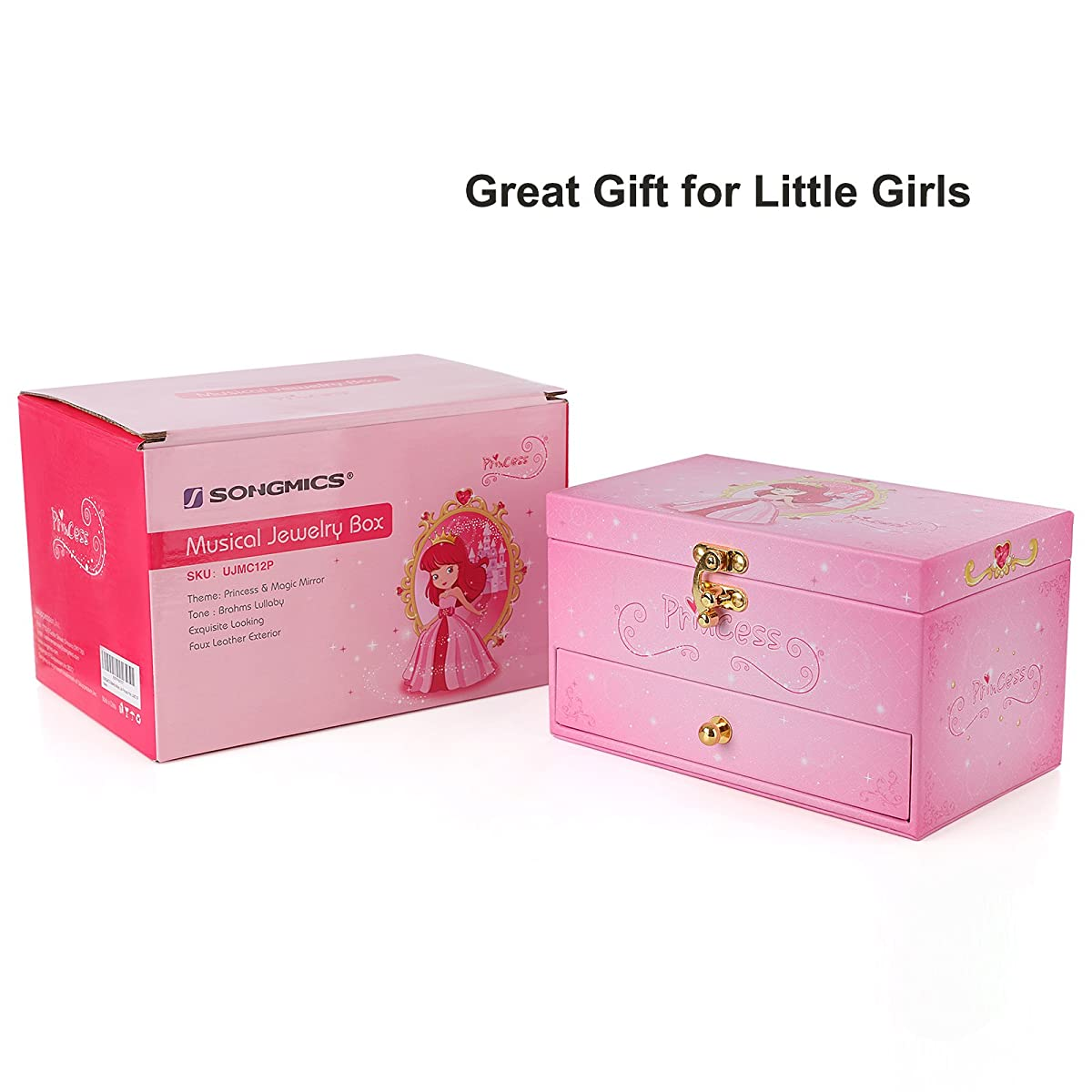 SONGMICS Ballerina Jewelry Box Musical Box Gift for Little Girls, Faux Leather Pink Princess Design UJMC12P
