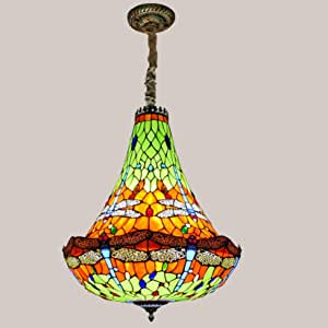 Tiffany Style Stained Glass Dragonfly Chandelier,European Style Large Pendant Lighting, Retro Hanging Lamps Ceiling Light for Hotel Villa Living Room,16 Inches Lampshade,Orange 5 Lights