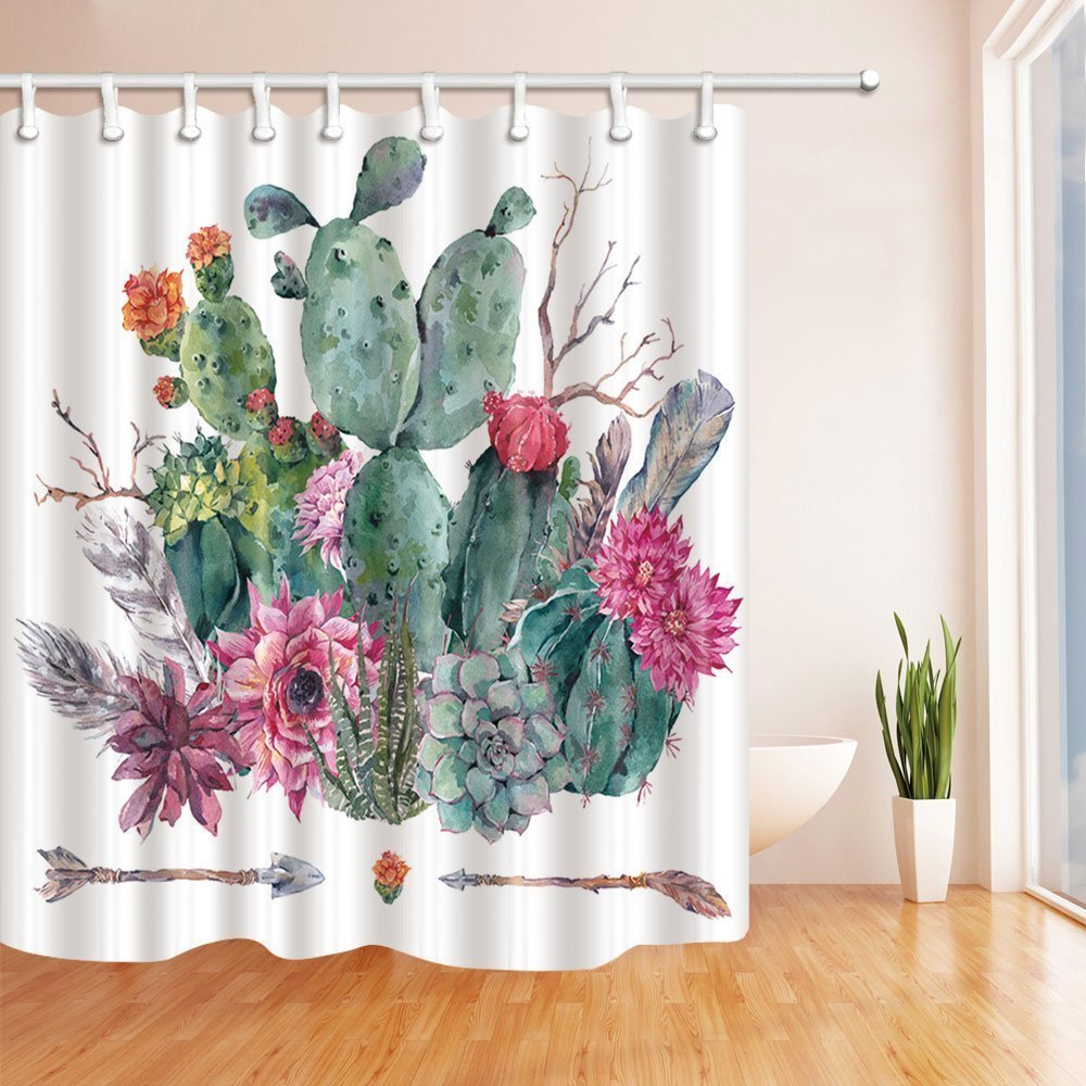 HiSoho Botanical Prickly Pear Cactus Shower Curtains for Bathroom, Exotic Watercolor Cactus Flower in Boho Style with Arrows, Polyester Fabric Waterproof Bath Curtain, Shower Curtain Hooks Included,