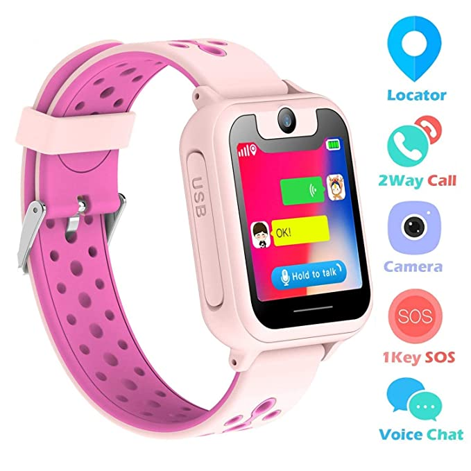 "Kids Smart Watch Phone, SZBXD 1.44"" GPS Tracker Smartwatch Touch Camera Games Flashlight SOS"