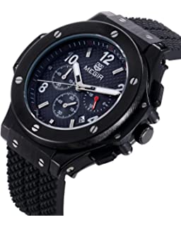 MEGIR Mens Wrist Watch,Analog Quartz Sports Military Silicone Watches with Big Dial,Waterproof