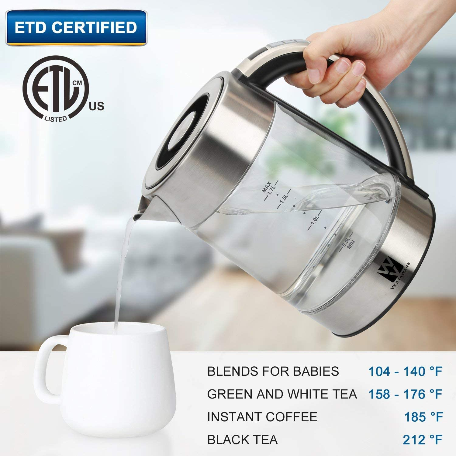 Vestaware Glass Electric Kettle,1.7L Electric Kettle-LED Display Digital Variable Temperature Control Keep-Warm Function, Hot Water Kettle with Auto Shut-Off and Boil-Dry Protection