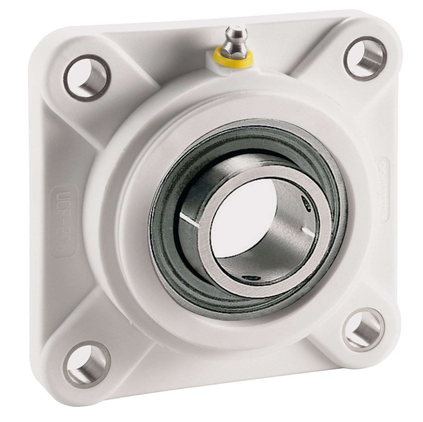 System Plast UCFQ205-16-NC 4-Bolt Flange Bearing, White Nolu-Clean Housing with 1' Bore Diameter White Nolu-Clean Housing with 1 Bore Diameter Regal 70205CG-EC