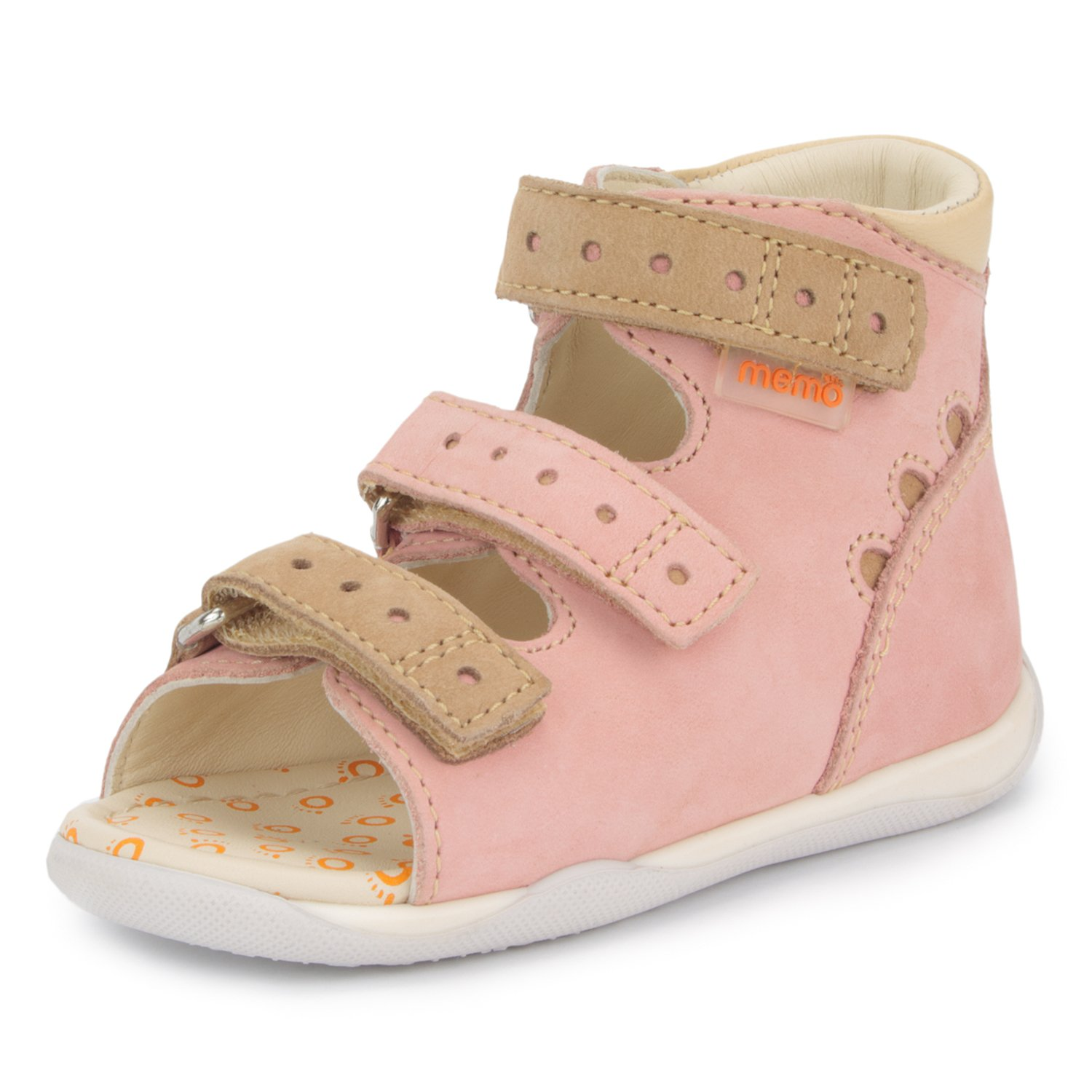 Memo Dino First Walking Orthopedic Ankle Support Natural Leather Sandal, Pink, 5 M US Toddler (20 EU) by Memo